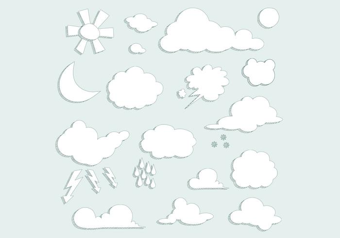 Sketched Clouds Weather Vector Set