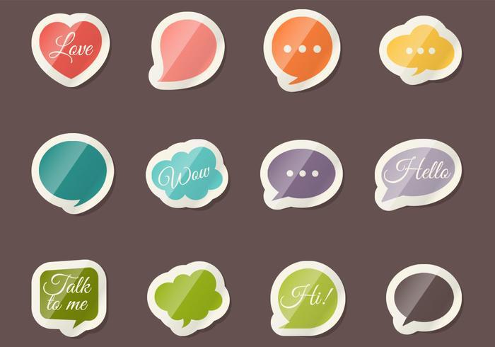 Speech Bubble Sticker Vector Set