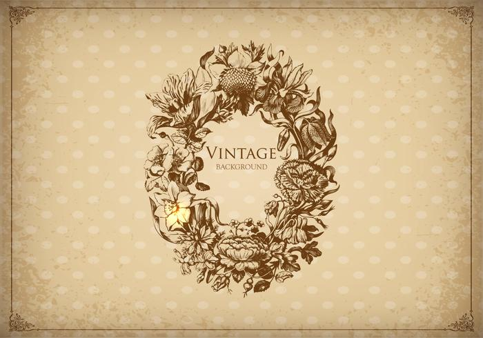 Vintage Floral Etched Frame Background Vector