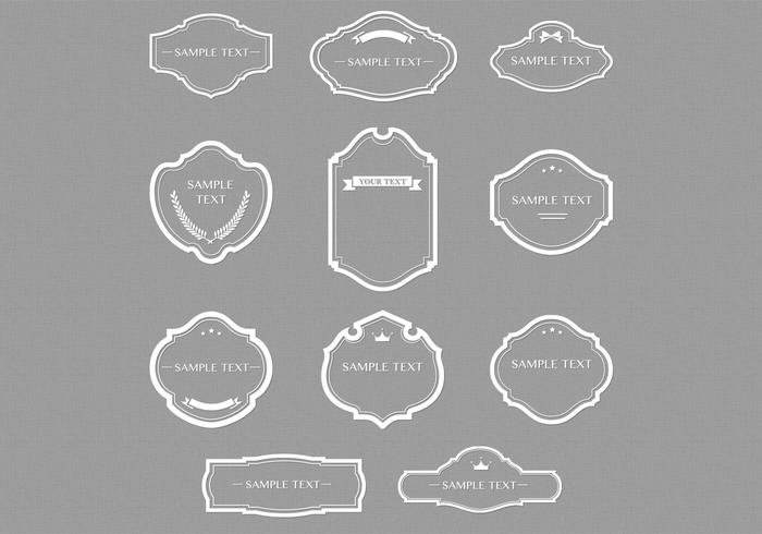 White Outlined Retro Frames Vector Set