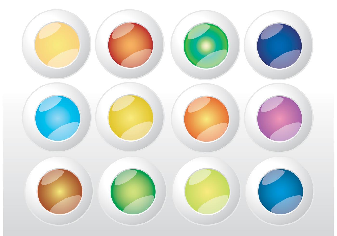 Vector Illustration Web Designs: Colorful Web Buttons Vectors
