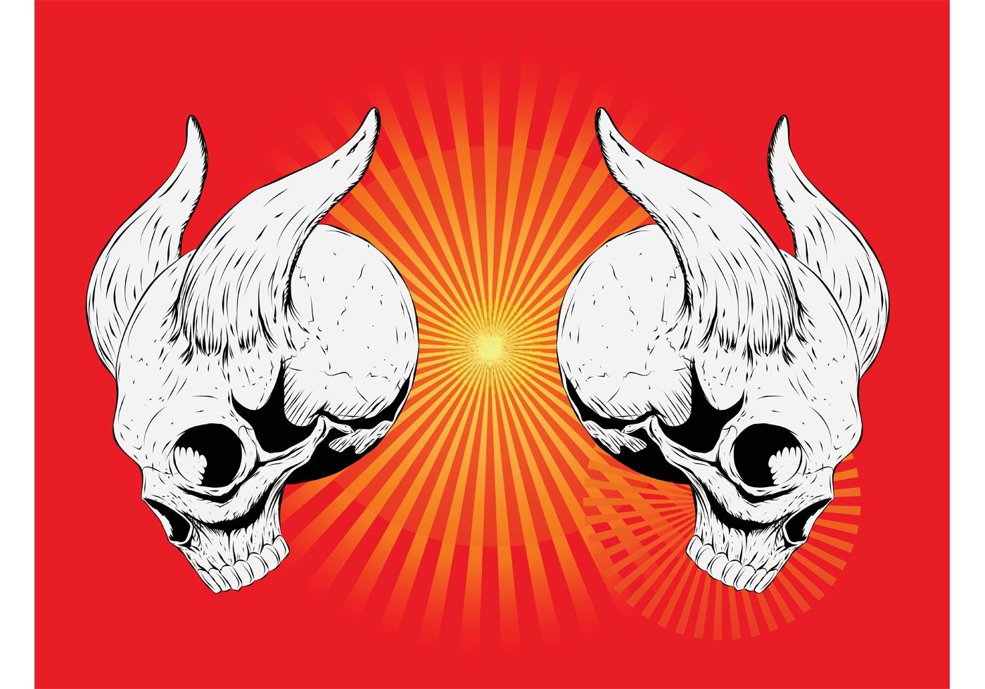 Horned Skulls Vector Download Free Vector Art Stock