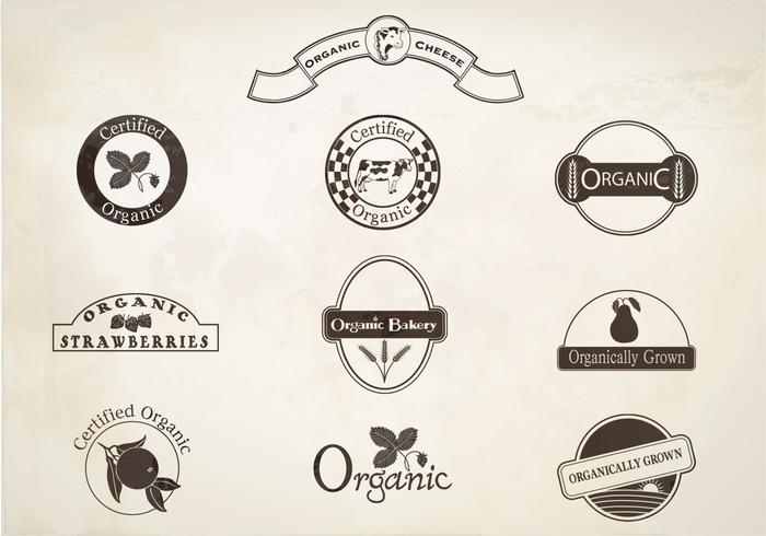 Retro Organic Labels Vector Set