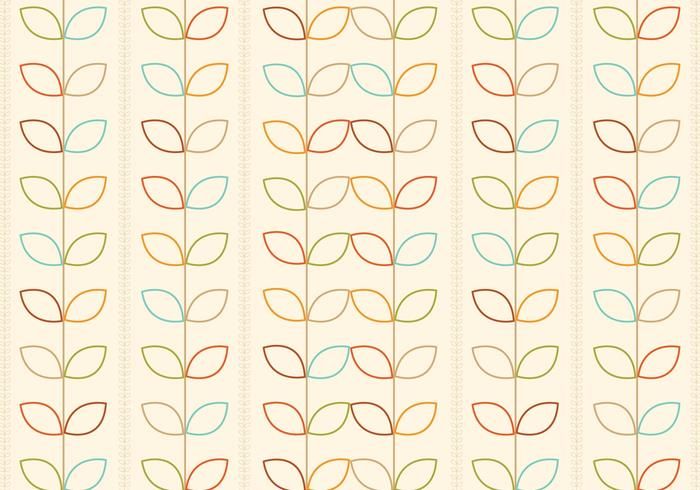 Outlined Retro Flowers Vector Pattern