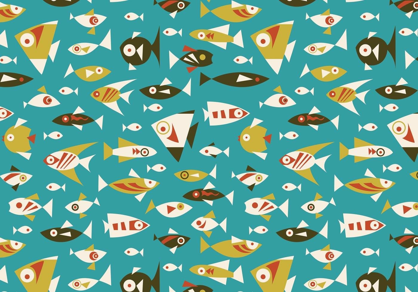 Retro Fish Seamless Vector Pattern - Download Free Vectors