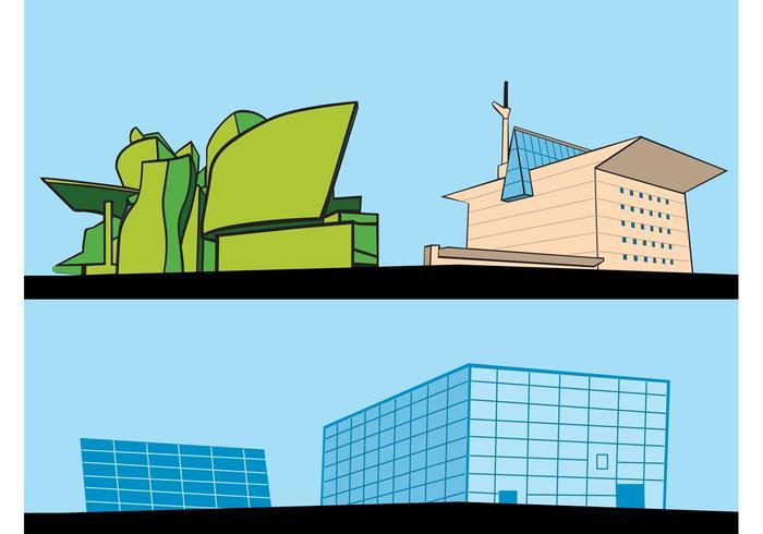 Retro Building Cartoons