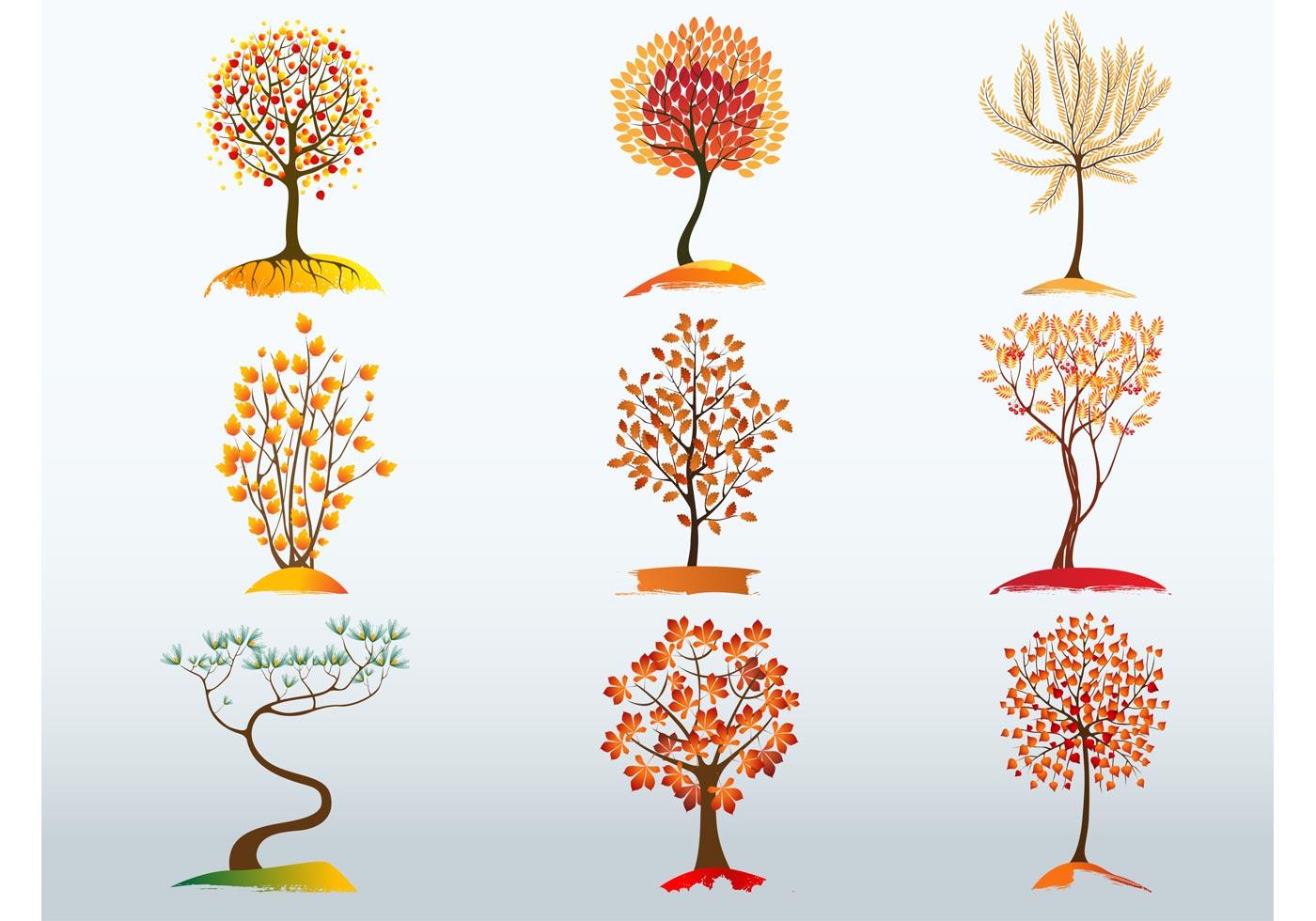 Vector Illustration Tree: Autumn Tree Vector Bundle