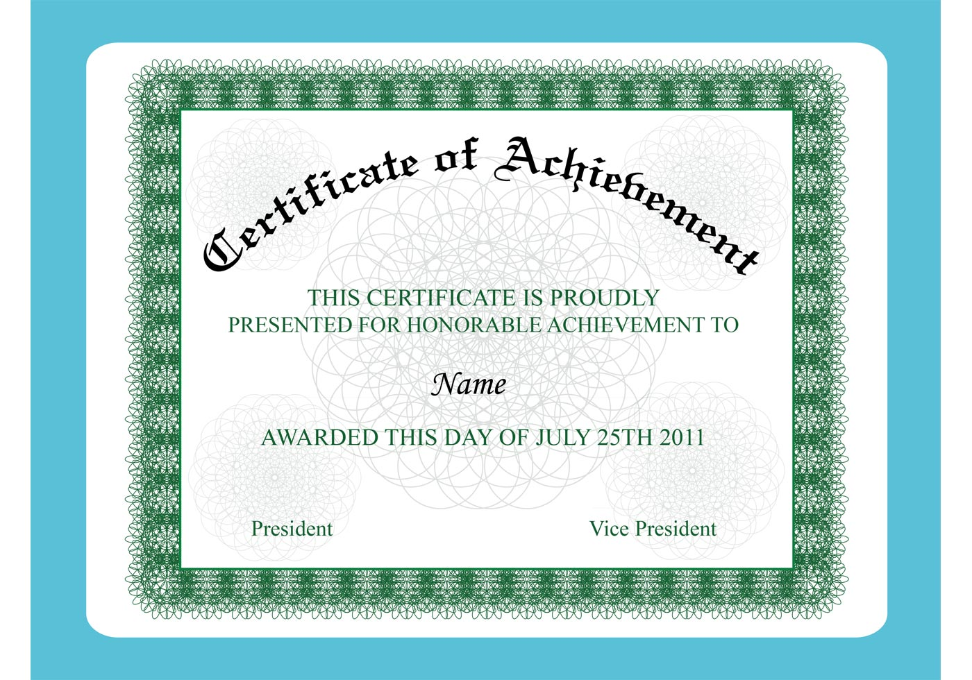 Achievement Certificate  Certificate Borders Free Download