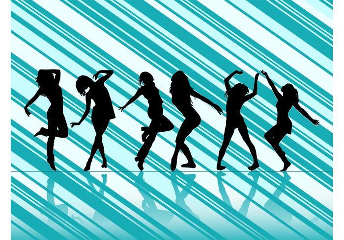 Dancing Women Vector Silhouettes