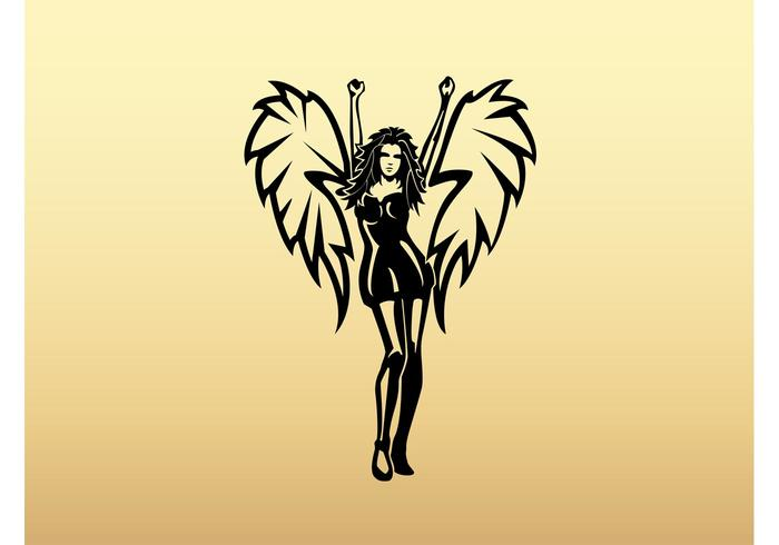 Winged Girl Vector Art