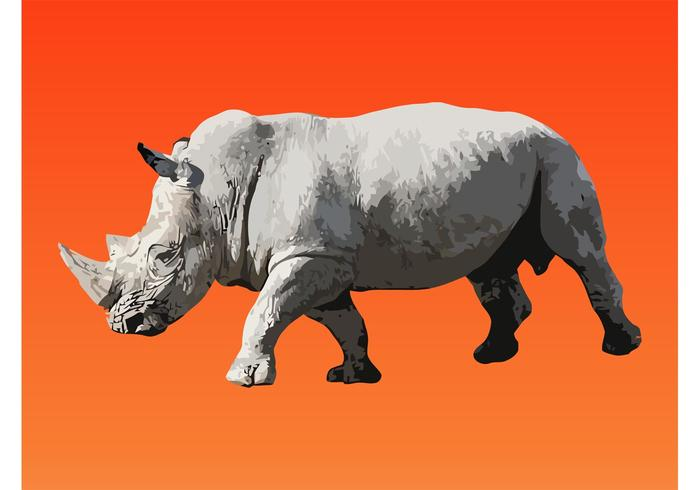 Walking Rhinoceros Vector
