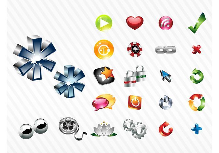 Ensemble d'icônes brillantes
