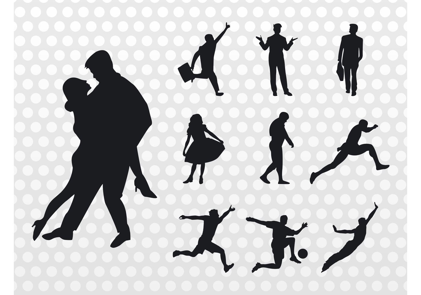 Traveling People Silhouettes Vector Art Graphics: People Silhouettes Vector