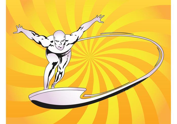 Vetor surfista de prata
