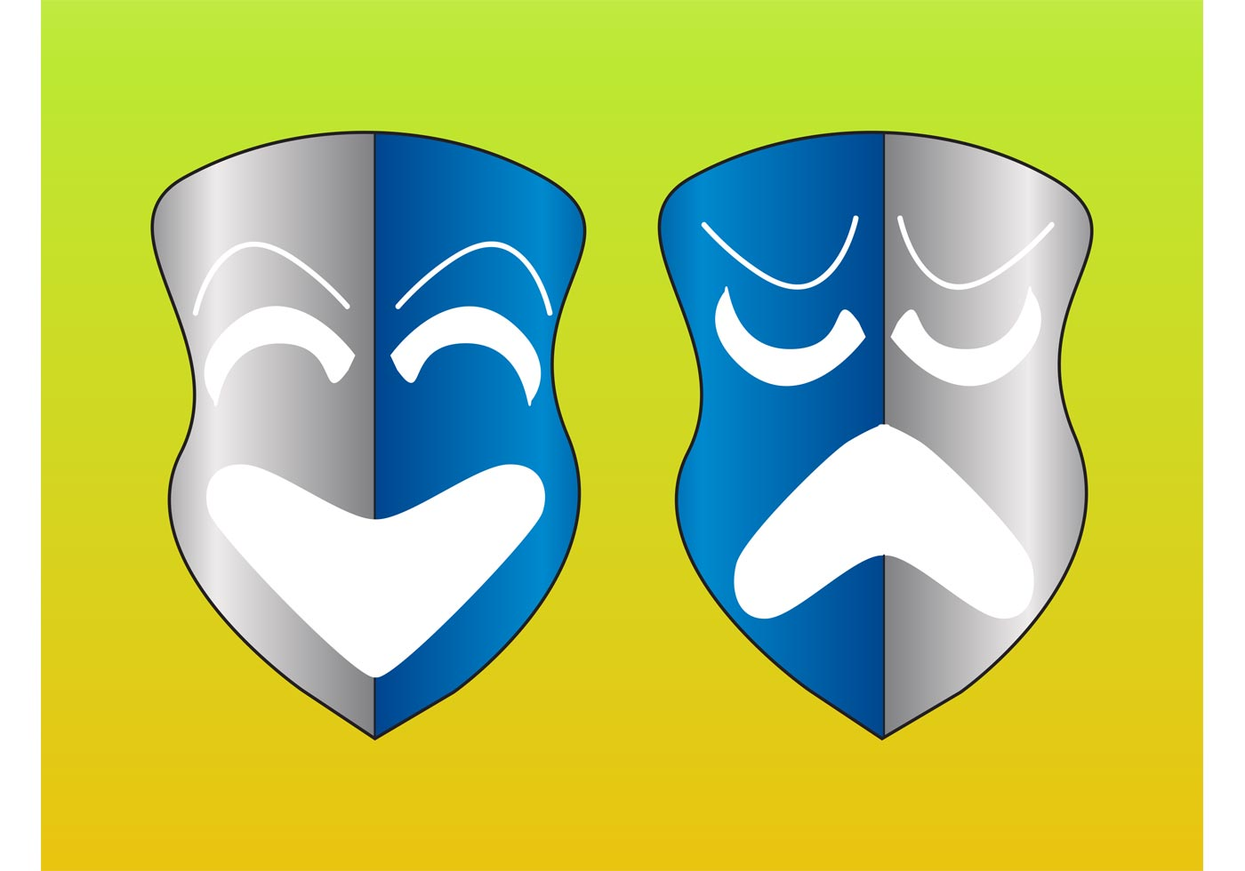 Comedy And Tragedy Masks - Download Free Vector Art, Stock Graphics ...