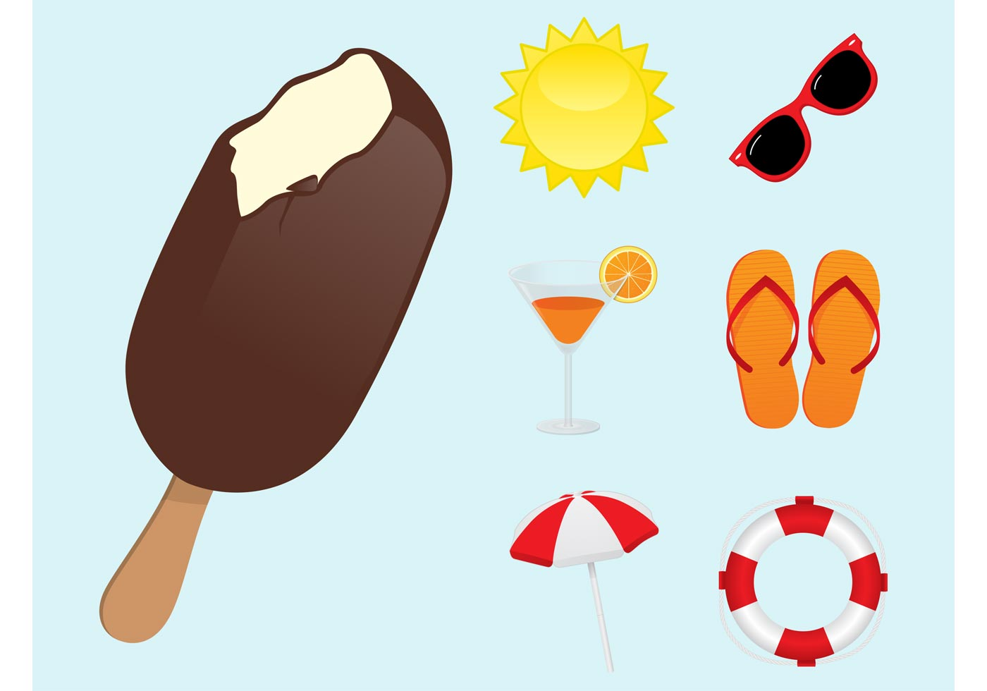 Sun Shining Pack Umbrella >> Summertime Icons - Download Free Vector Art, Stock Graphics & Images