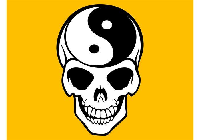Yin Yang Skull Vector