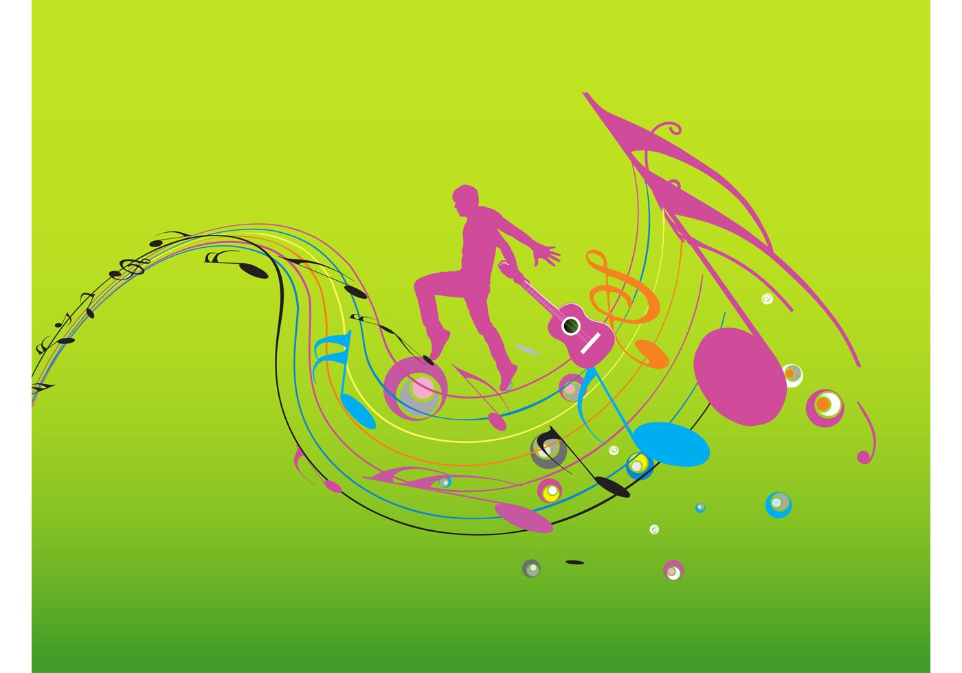 colorful music design download free vector art stock