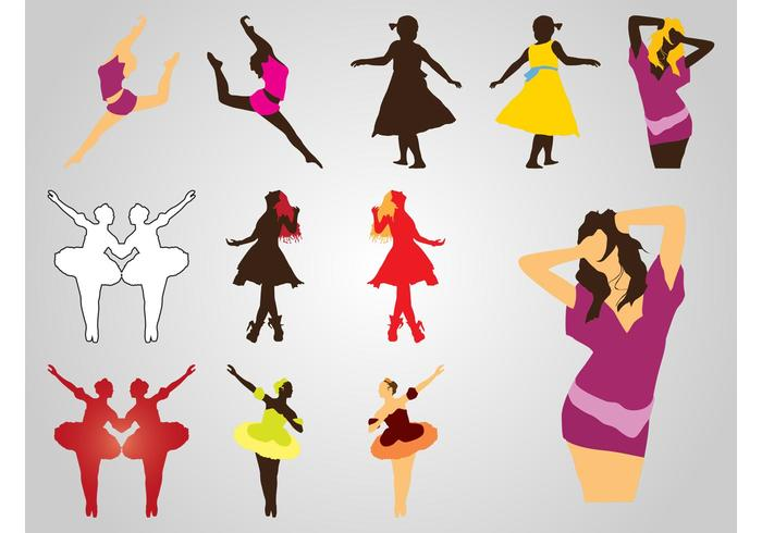 Dancing Girls Silhouettes