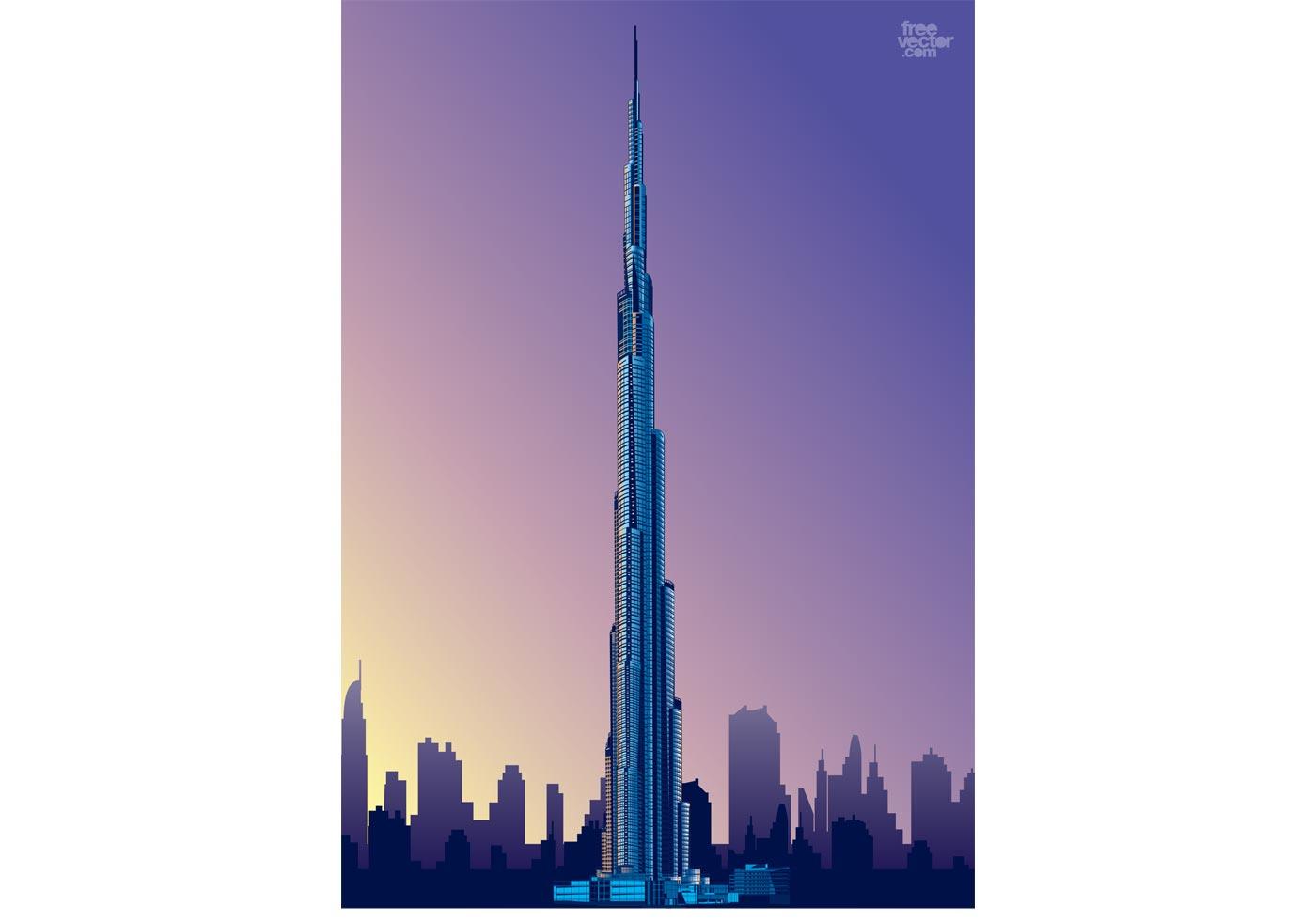 burj khalifa download free vector art stock graphics images rh vecteezy com cityscape vector outline cityscape vector eps