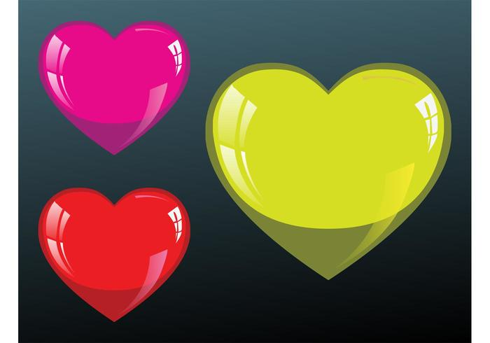 Glossy Hearts Illustrations