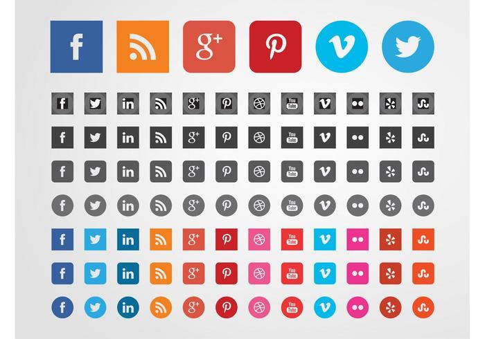 Sociala webbplatser ikoner