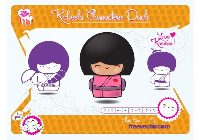 Kokeshi Dolls Vectors