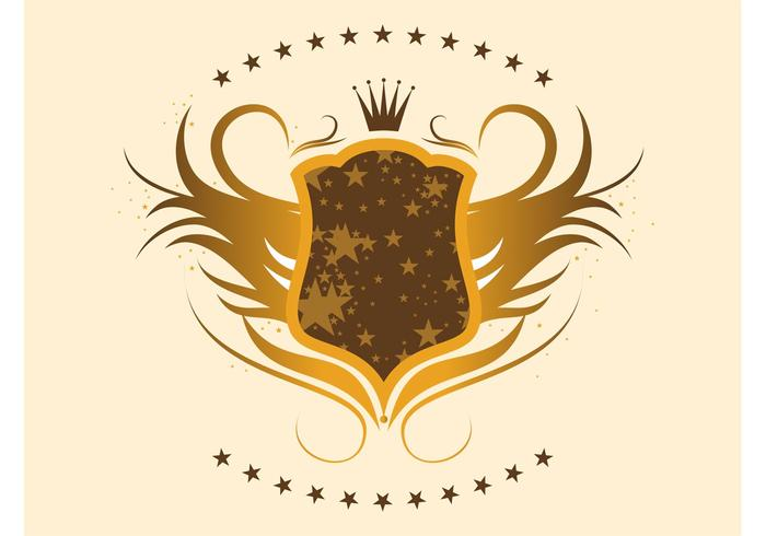 Gold Shield with Stars