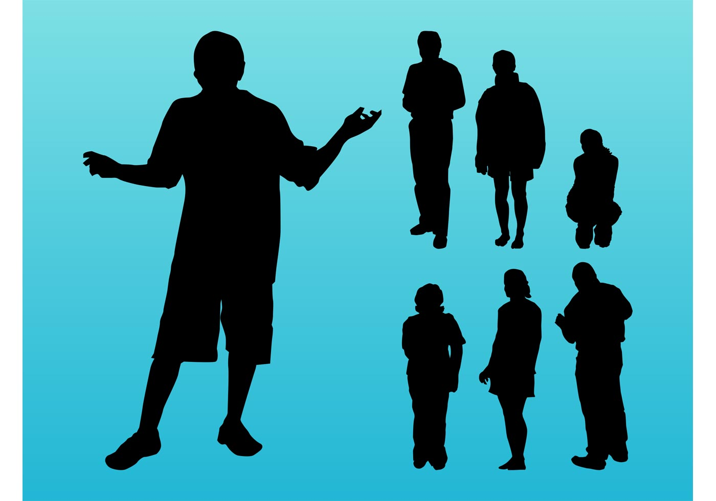 Traveling People Silhouettes Vector Art Graphics: People Silhouettes Images