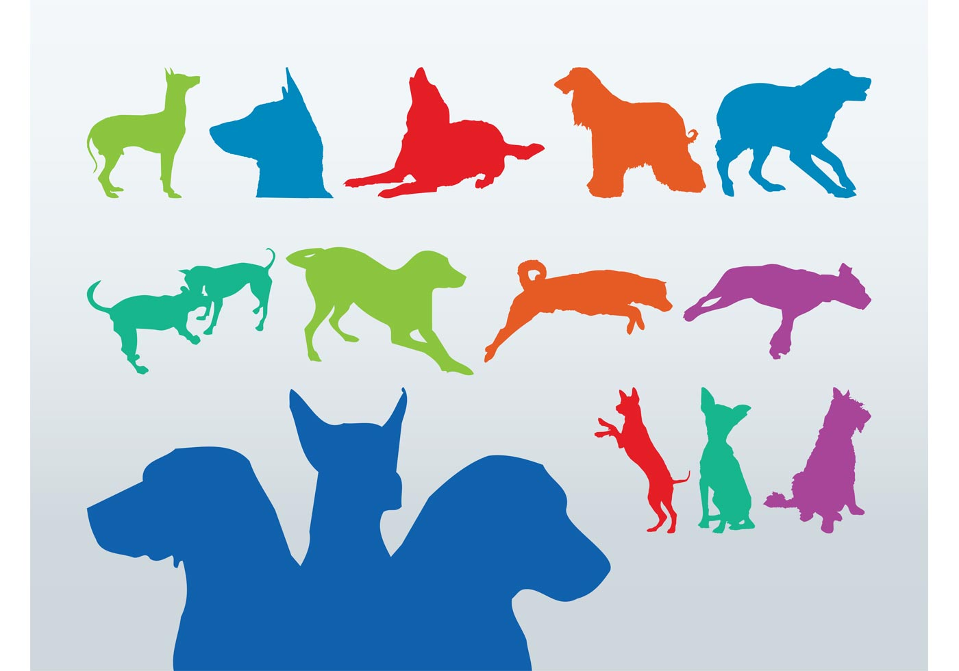 Free  Colorful Stock Download Dog Art, Silhouettes Vector -