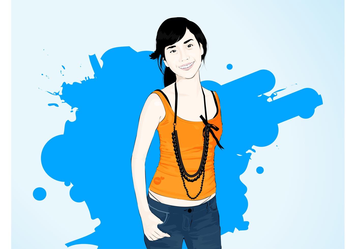 smiling asian girl   download free vector art stock