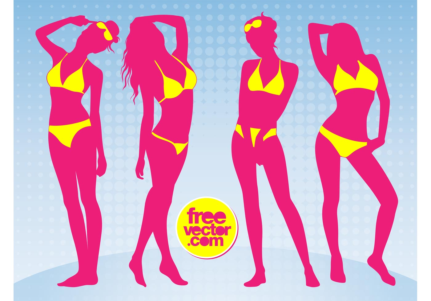 Bikini Girls - Download Free Vector Art, Stock Graphics  Images-6393