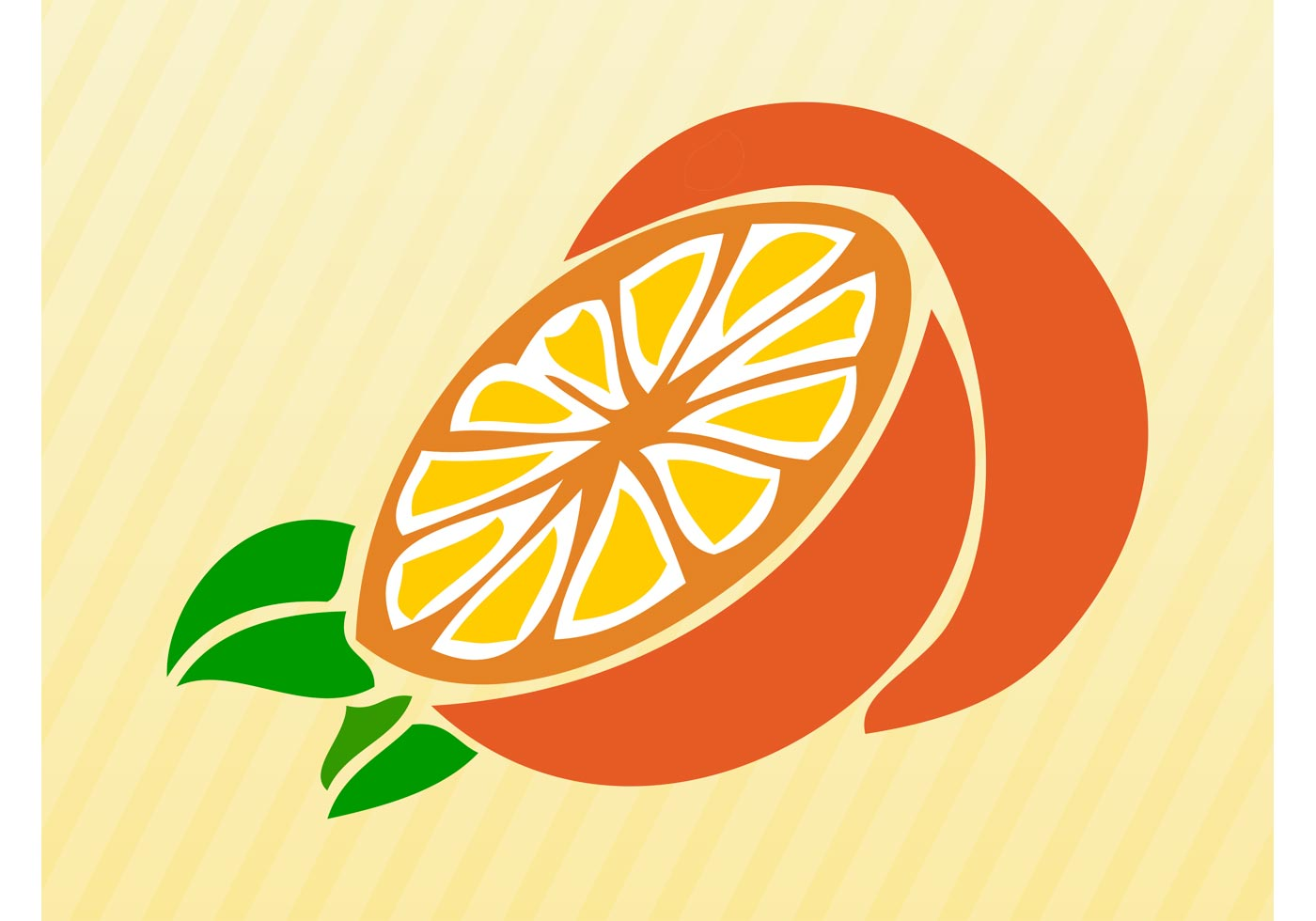 Orange Fruit Vector Sliced Orange -...