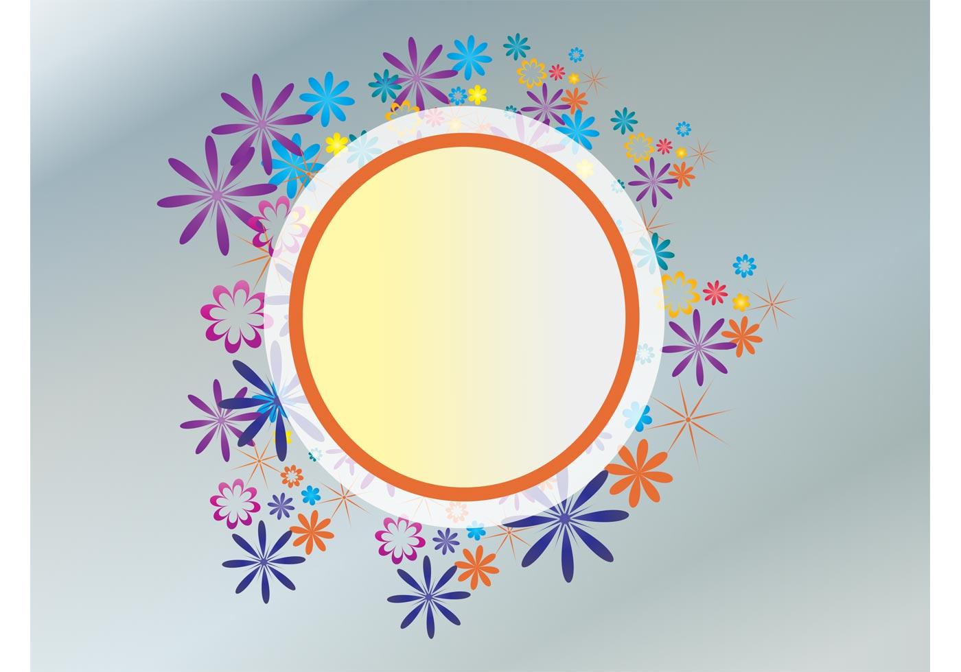 floral circle free vector art