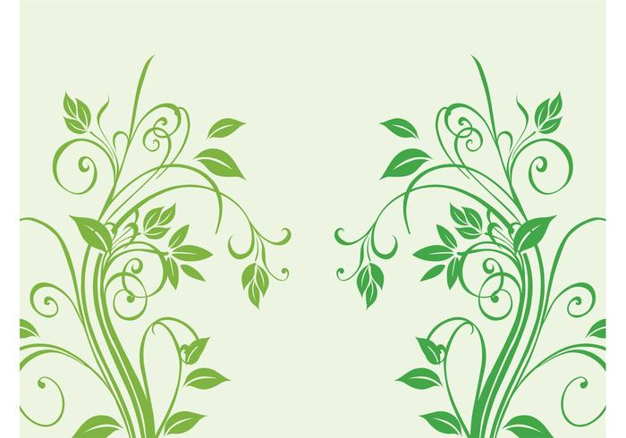 Swirling Plant Silhouettes