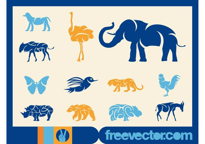 Blue Animal Silhouettes
