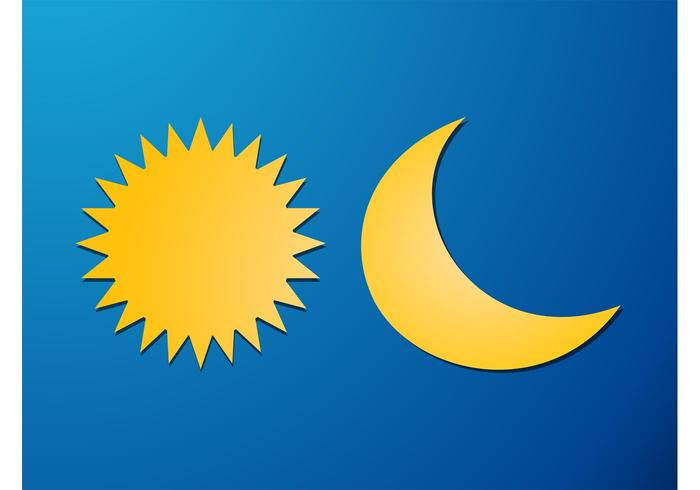 Sun And Moon Vector Elements