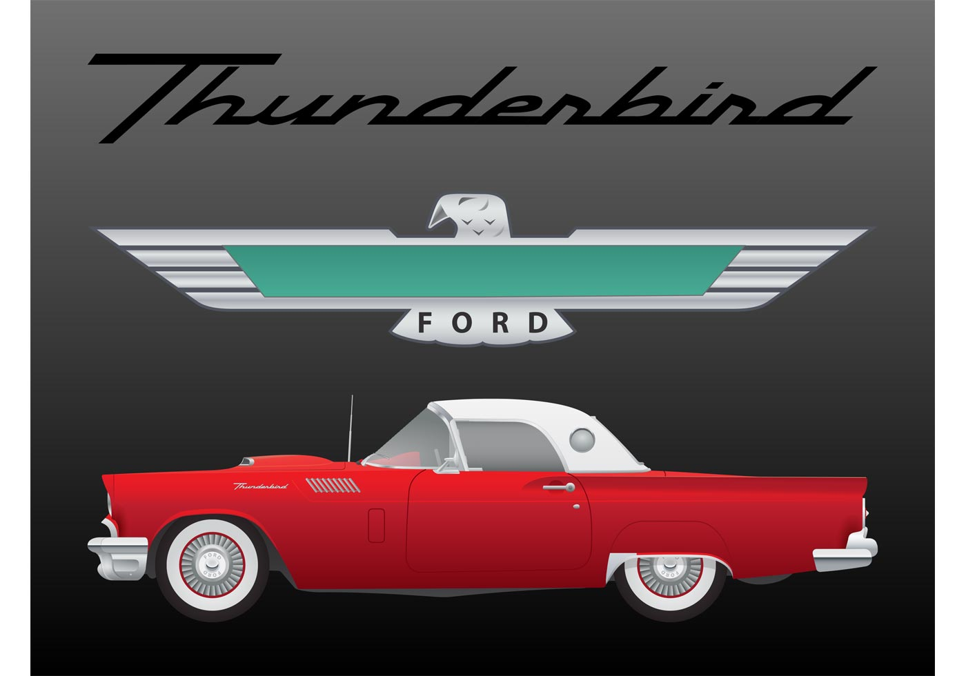 Ford Thunderbird Vector Download Free Vector Art Stock