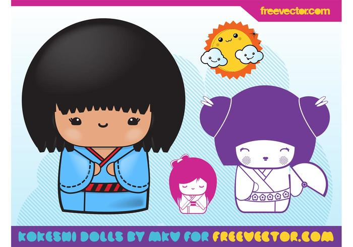 Kokeshi Vector Illustrations