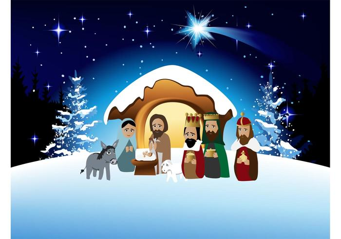 Cartoon Nativity Vector - Download Free Vector Art, Stock ...