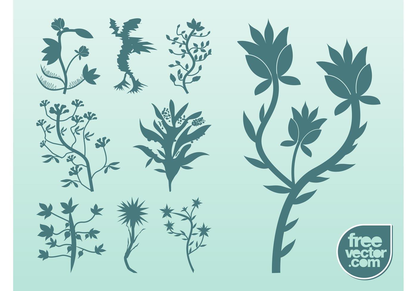 Silhouette Vector Plants Download Free Vector Art Stock