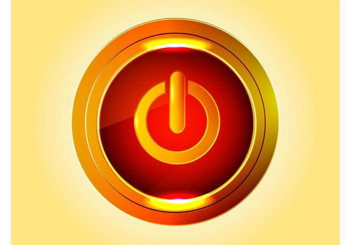 Goldener Powerknopf