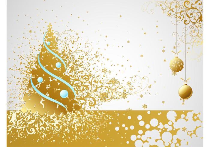 Cartão dourado do vetor do Natal