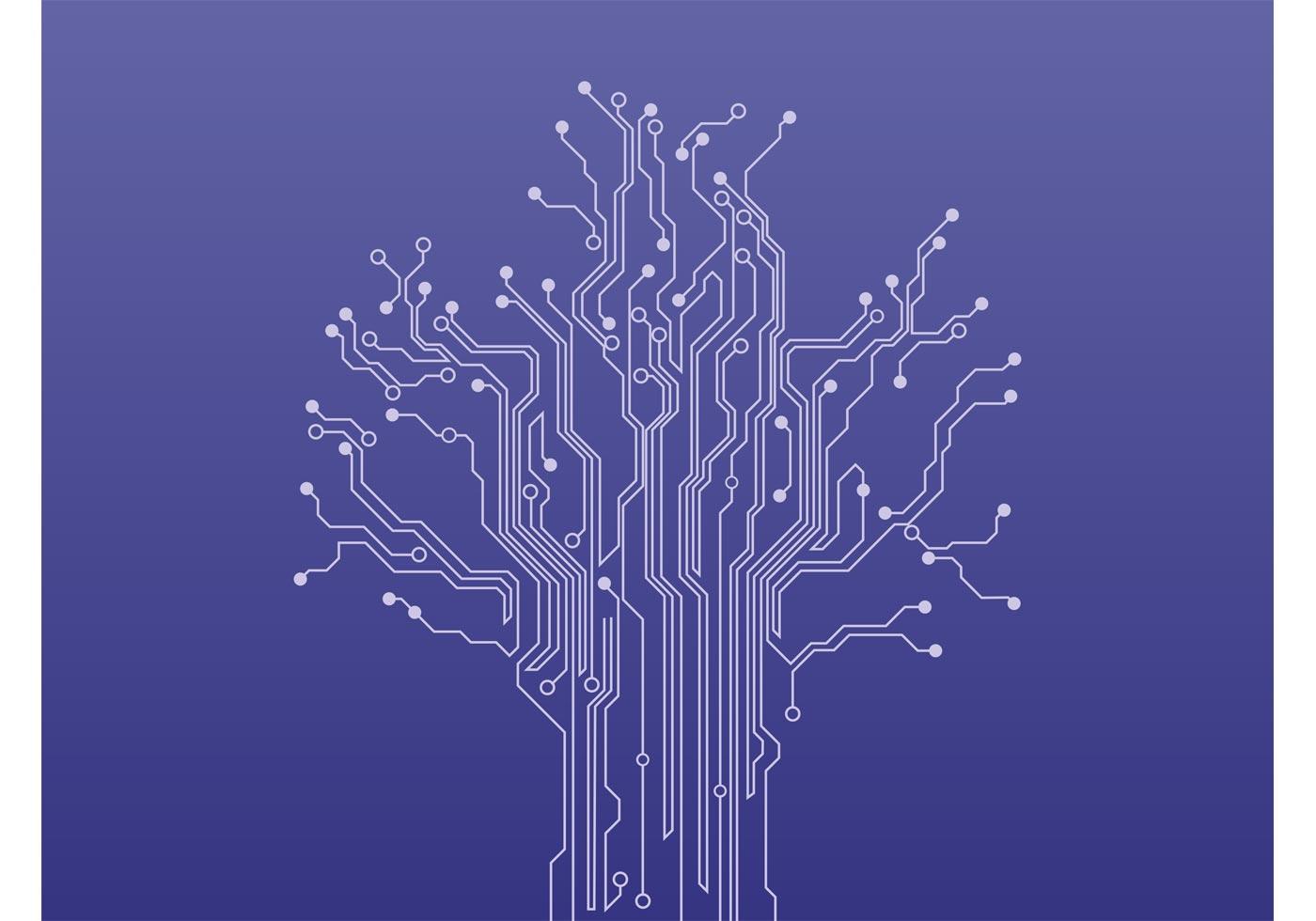 Vector Drawing Lines Download : Circuit tree vector download free art stock
