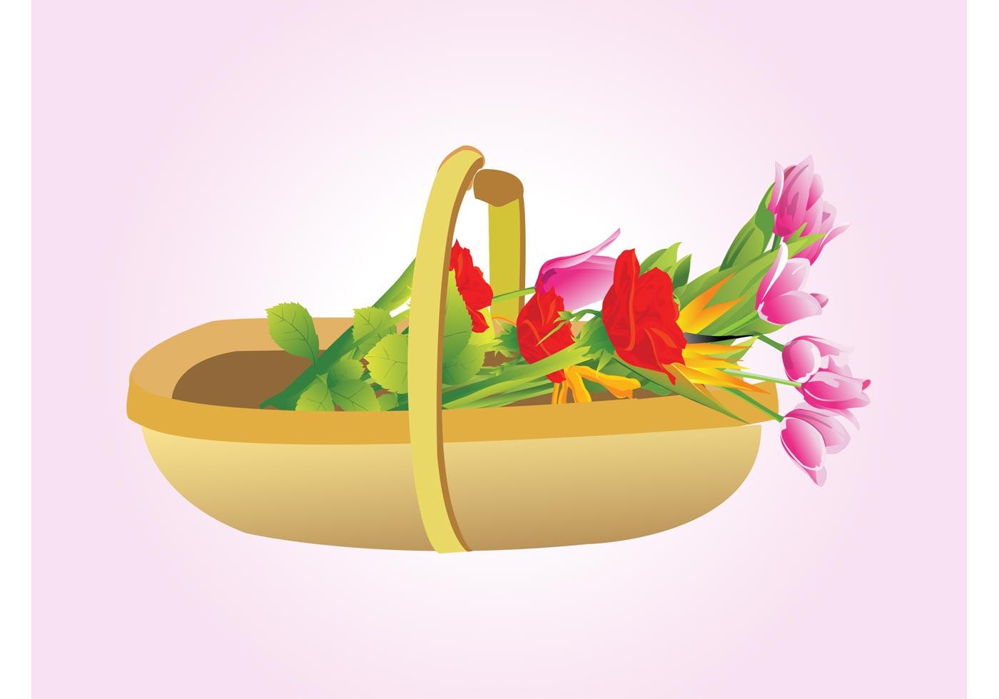 Flower Baskets Vector : Flowers basket vector download free art stock