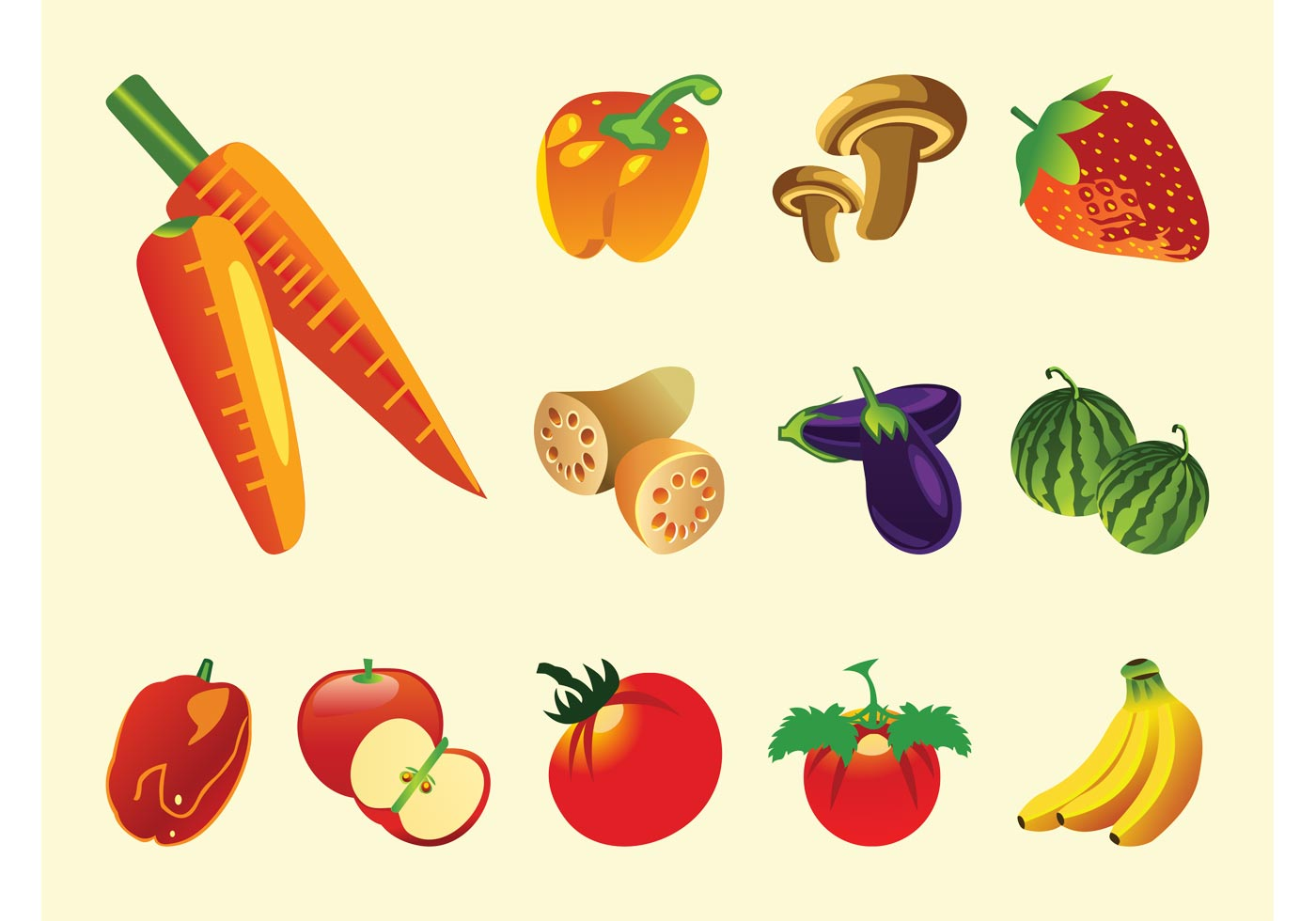 Fruits And Vegetables Vector Download Free Vector Art