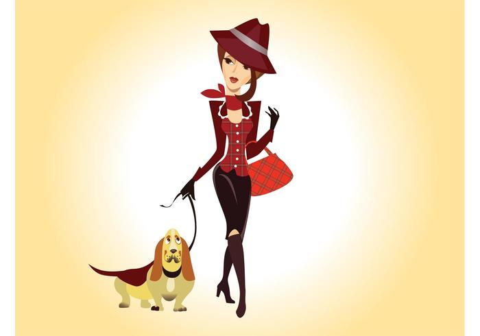 Vector Girl With Dog