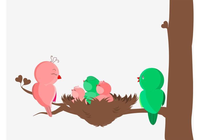 Vector de famille d'oiseaux