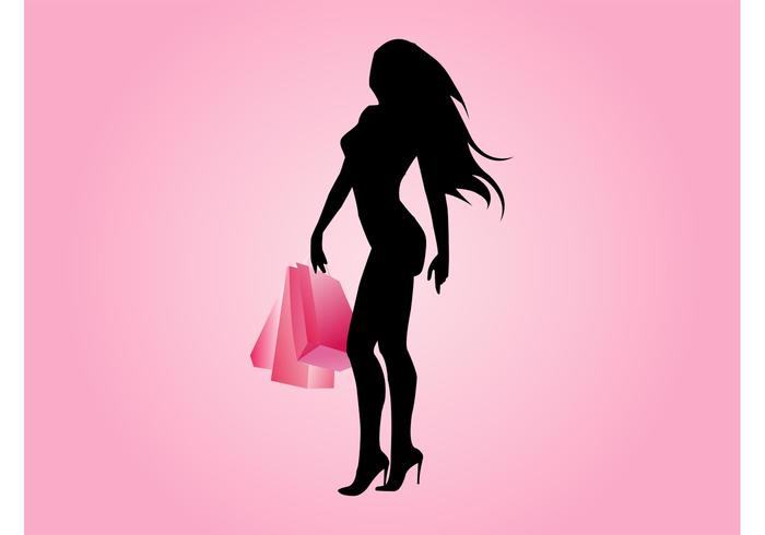 Sexig Shopping Girl Vector