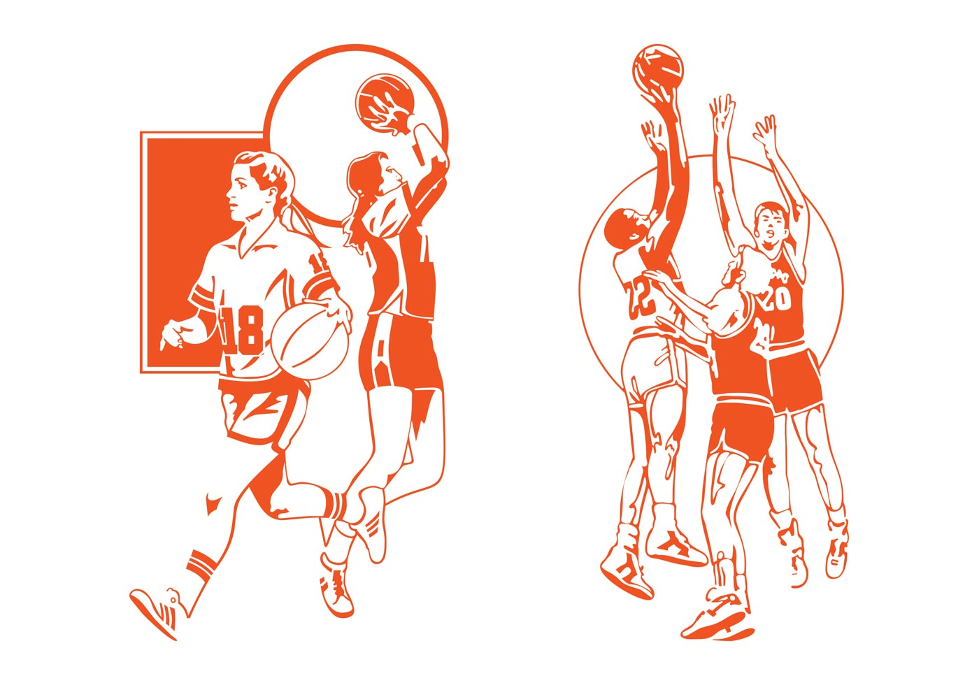 Basketball Players Vector - Download Free Vector Art ...